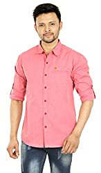 Spykar Red Formal Slim Fit Shirt (Size:L)