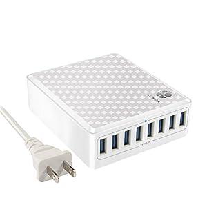 HUNDA 60W 8ポート USB急速充電器ハブ acアダプター インテリジェント チャージャー iPhone/Android全世代 スマホ/タブレット対応 (ホワイト)