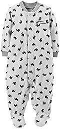 Carter\'s Baby Boys\' Print Fleece Footie (Baby) - Gray - 3 Months