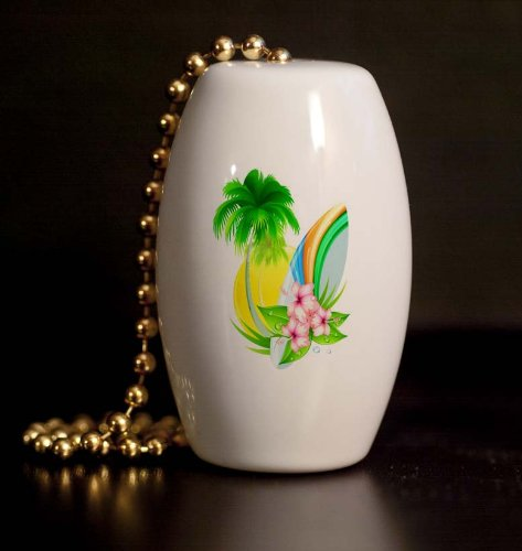 Surfboard Palm And Hibiscus Porcelain Fan / Light Pull