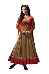 Kamakshi Womens Chiffon Self Print Anarkali Salwar Suit (Gold_Xl)