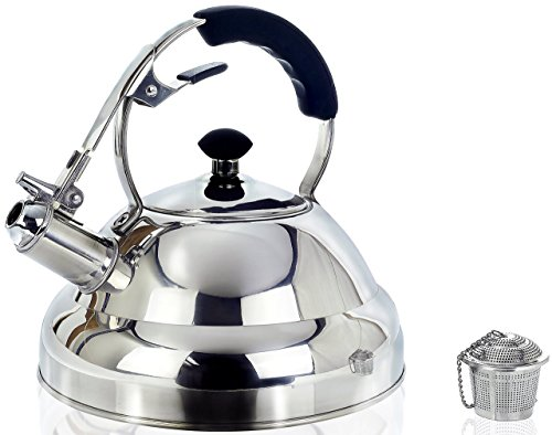 Surgical Stainless Steel Whistling Tea Kettle, 2.75 Quart Stove Top Kettle Teapot with Layered Capsule Bottom, Silicone Handle, Mirror Finish - Tea Infuser Strainer Included (Tea Kettles compare prices)