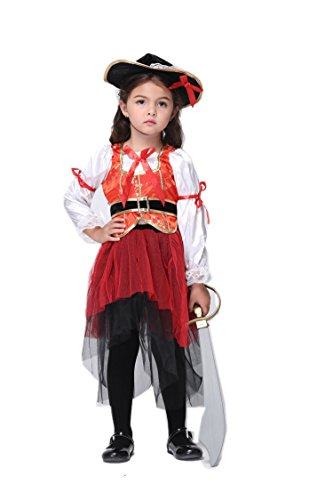 NonEcho Halloween Costume for Girls Pirate 3-11 Years Old