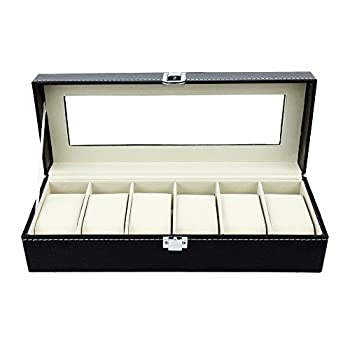 Watch Box 6 Black Mens Womens Leather Display Glass Top Jewelry Case Organizer by Satellas