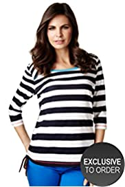 Per Una Pure Cotton Side Ruched Striped Top