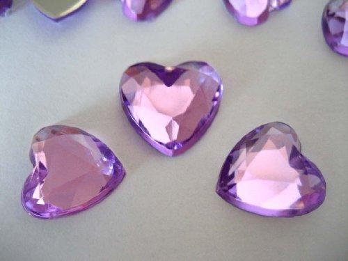 100confettis pour table de mariage strass cristaux 12mm en forme de cœur avec une plaque arrière Argent