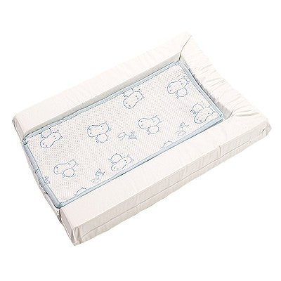 By Carla Large Happy Hippo Changing Mat With Towelling Stain Resistant Liner, White/Blue