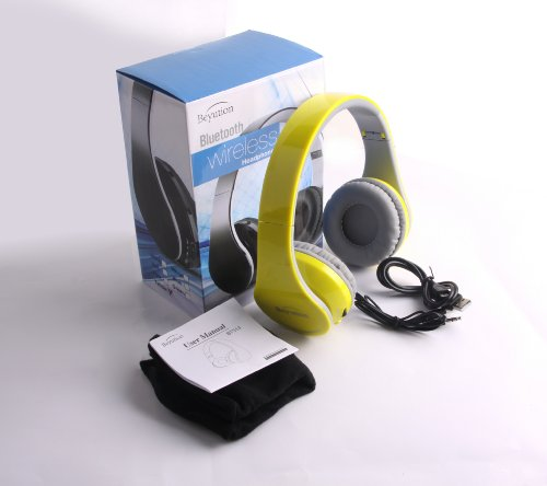 New Yellow Beyution513 Best Audio Performance--Over-Ear-- Hifi Stereo-- Bluetooth Headphones Headset For Apple Iphone Ipad/ Samsung/Toshiba/ Nokia/ Motorola/Att/Htc/Huawei And All Smart Cell Phone And All Tablet Which Have Bluetooth Device---White Color--