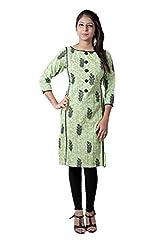 Kittus Fashion House Women's Cotton Straight Kurti (Kskrt-1077_Green_Small)