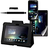 kwmobile 3in1 Set: Hülle für Asus Padfone 2 mit Standfunktion - Kunstleder Tablet Case Cover Tasche Schutzhülle in Schwarz + Folie, kristallklar + Stylus, Schwarz