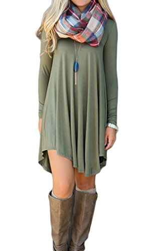 Bluetime Women's Long Sleeve V Neck Swing Loose Tunic Flowy Short Casual Dress (M, Green)