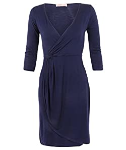 Print: Two-Toned   Material: Elastane /Jersey /Viscose  Dress Length: Midi-Dress   Dress Silhouette: Shift   Neckline: V-Neck   Embellishments: Gathered  Pullover  Wrap   Size Category: Adult