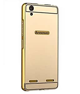 Galaxy Plus Golden Mirror Back Cover With Bumper For Lenovo A6000