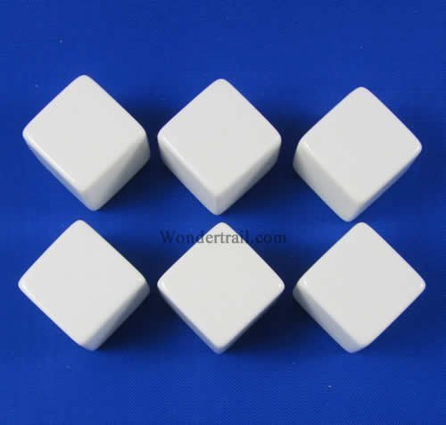 White D6 Blank 16mm Dice Set with Stickers (6)