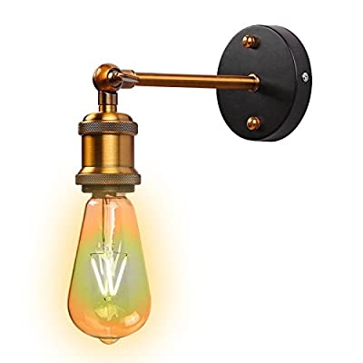 ONEVER Vintage Wall Lamp Simple Brass Head Wall light Fixtures Industrial Style Wall Sconce for House, Bar, Restaurants, Coffee Shop, Club Decoration (110-220V, Bulbs not Included)