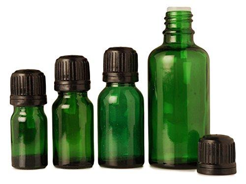 Lot de 12 huiles essentielles gros boston bouteilles de sérum rondes vert vide bouteilles d'aromathérapie de verre autoprotection bouchon évidente 15 ml bouteilles euro-gouttes