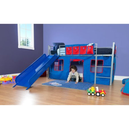 Boys Twin Loft Bed with Slide, Grey and Blue, Bed accommodates a twin mattress