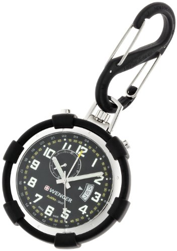 Wenger Men's Watch 73015 With Traveller Pocket Alarm And Rubber Casing S Clip.
