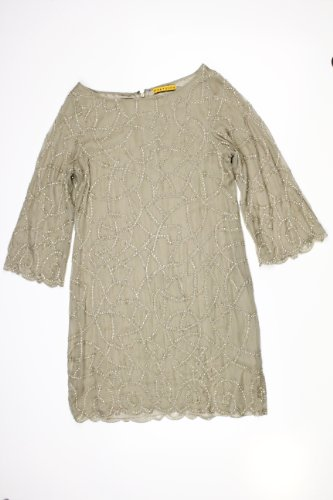 Alice + Olivia womens julissa nude beaded abstract dress M