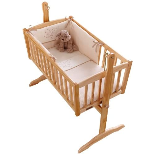 Clair de Lune Stardust Rocking Crib  Cradle Quilt and Bumper Set (Cream)
