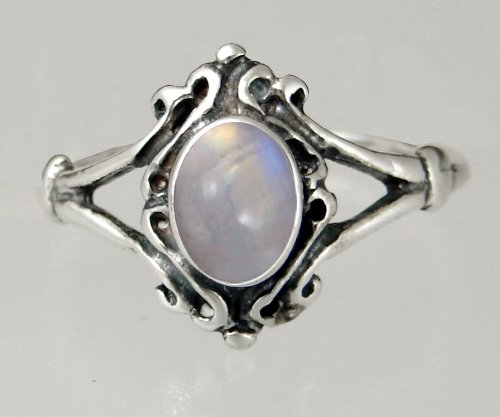 An Elegant Sterling Silver Victorian Ring Featuring a Lovely Rainbow Gemstone
