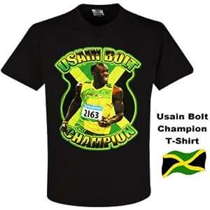 Usain Bolt Olympic Champion T-Shirt: Amazon.co.uk: Sports