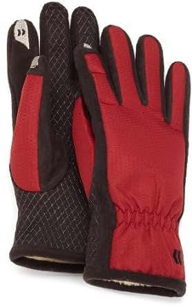 Isotoner Women's SmarTouch Nylon Glove with Gathered Wrist, Red, Medium/Large