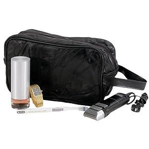 Large Genuine Black Leather Travel Kit Shaving Mens Toiletry Bag Mosaic Pattern by Dakota Leather Embassy