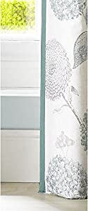 """Floral Flowers Leaves Duck Egg Blue Cream Lined 46"""" X 90"""" - 117cm X 229cm Ring Top Curtains from Curtains"""