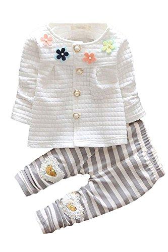 Baby Girls 2pcs Button Down Top Cardigan Strip Legging Pants Clothing Set(White,12-18 months)