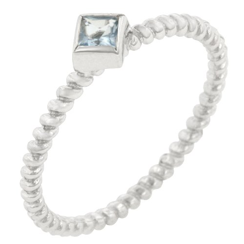 Sterling Silver Cubic Zirconia Bezel Set Anniversary Ring in Size 7