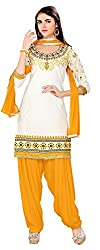 Rahi Women's Cotton Salwar Suit Material (White and Yellow)