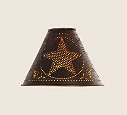 Tin Punched Star Lamp Shade in Crackle Black, Clips On Light Bulb, 2\
