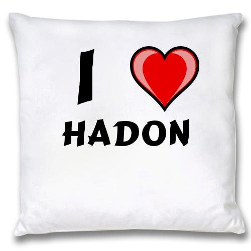 White Cushion Cover with I Love Hadon (first name/surname/nickname) free shipping beautiful price reasonable clean acrylic podium pulpit lectern