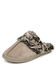 M&S Collection Secret Support™ Suede Faux Fur Toggle Clog Slippers