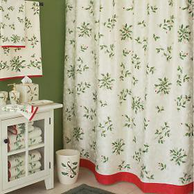 Lenox Holiday Ivy Print Fabric Christmas Shower Curtain Program