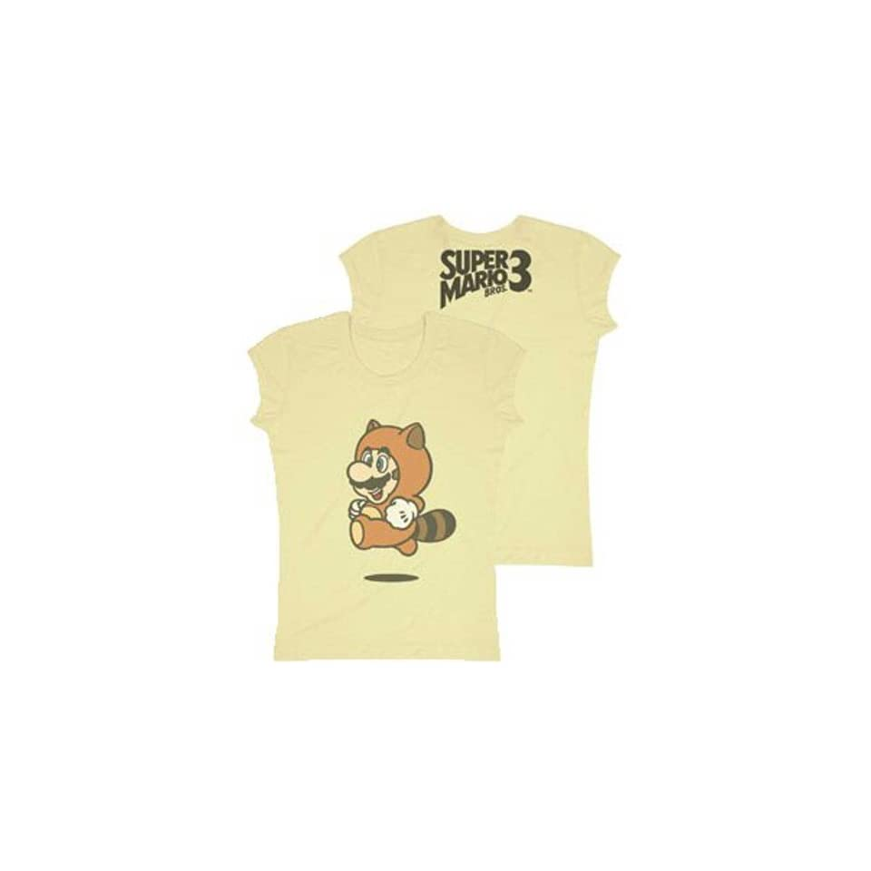Nintendo Super Mario Bros. 3 Mario Raccoon Juniors Girly T Shirt, Brown, Small Clothing