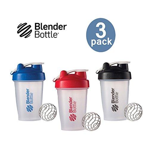 Blender Bottle with Shaker Ball 20 Oz, Pack of 3 (Blue, Red, Black) (Shaker Blender compare prices)