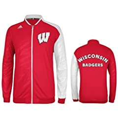 Adidas Wisconsin Badgers Adult On Court Warm Up Jacket by adidas