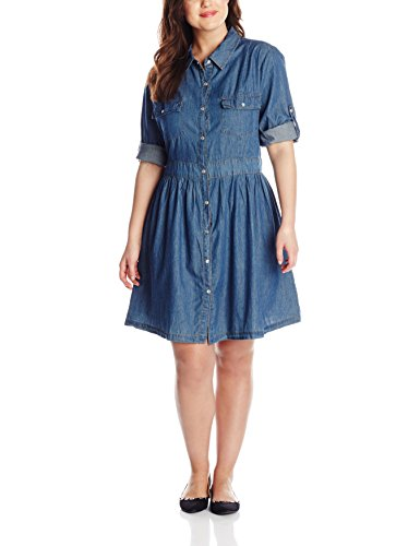 B00R7EGTHU She's Cool Junior's Plus-Size Button Down Shirt Dress with Roll Tab Sleeves, Medium Wash, 3X