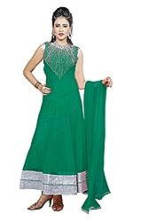 Angel Garments Green Nayloan net Anarkali Salwar Suit(Green)