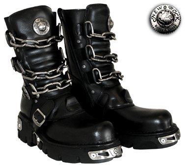 New Rock Boots Style 713 (Black/Silver) - (8 UK)