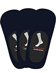 Balenzia Anti-Slip Premium Cotton Loafer Socks - Pack of 3 (Navy)