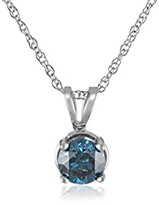 10k White Gold and Blue Diamond Solitaire Pendant Necklace (1/2 cttw), 18
