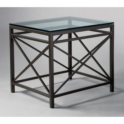 Image of Campaigne Contemporary End Table Table Top: Clear Glass (as shown), Metal Finish: Topaz (60-152+(Topaz Metal Finish))