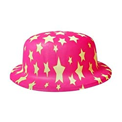 Neon Star print Hat-Pink (Pack of 5)