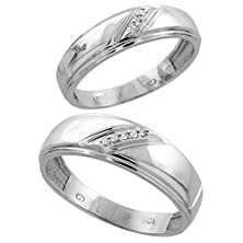 buy 14K White Gold 2-Piece His (7Mm) & Hers (5.5Mm) Diamond Wedding Band Set, W/ 0.05 Carat Brilliant Cut Diamonds; Ladies Size 9
