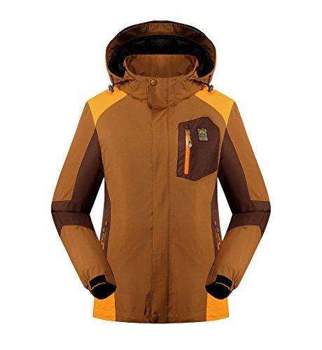 KORAMAN Women's Windproof Waterproof Outdoor Full-zip Hooded Rain Jacket with Removable Standing Collar Liner Coffee 4XL (Zip Liner Womans Rain Coat compare prices)