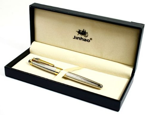 Jinhao 165 Silvery Mirror Carved Gold Nib Fountain Pen 1