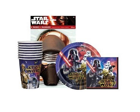 Star Wars Birthday Party Supplies Pack For 8 guests - 8 Star Wars Party Masks, 8 Dessert Plates,16 Napkins and 8 Cups